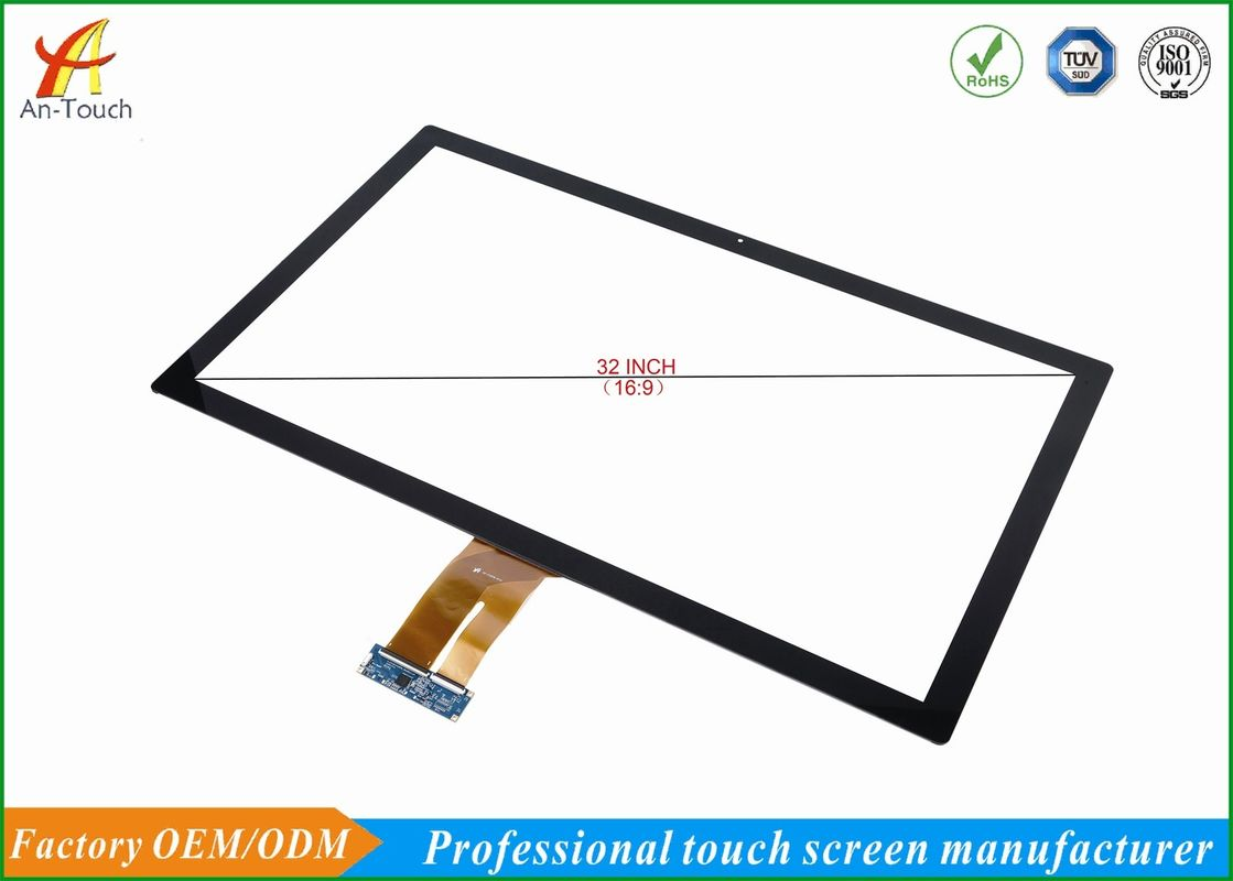 Flat 32 Inch Touch Panel Display , Large Capacitive Touch Screen High Transmittance